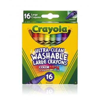 Разноцветные мелки ультра-чистое смывание Восковые карандаши 16 шт. ULTRA-CLEAN WASHABLE CRAYONS CRAYOLA COUNT