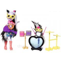 Игровой набор Энчантималс игра на барабанах кукла Сейдж Скунк и скунс Кэйпер