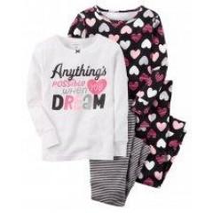 Комплект пижам из 4-х вещей с сердечками Картерс Carters для девочки